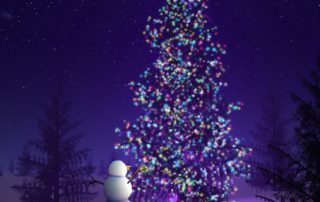 Snowman admires his christmas tree